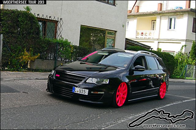 blacl passat wagon  | Black VW Passat R36 wagon with pink wheels at the Woerthersee Tour GTI ...