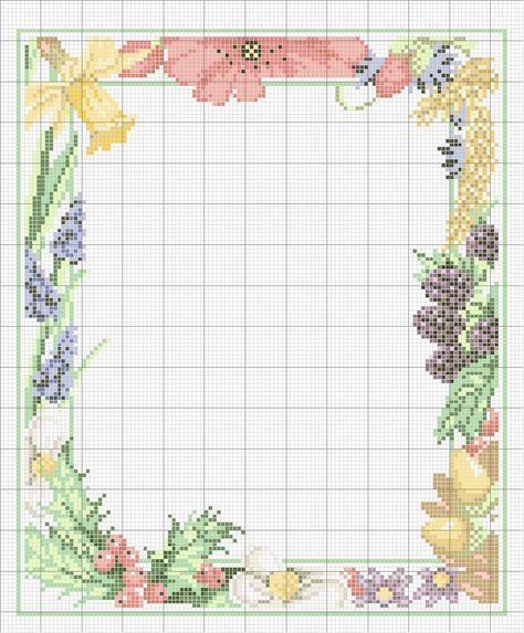 Schematic cross stitch floral frame- ... no color chart available, just use pattern chart as your color guide.. or choose your own colors...