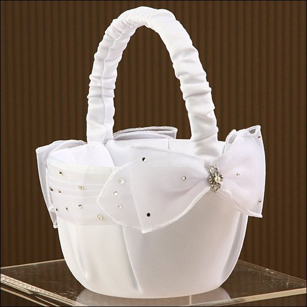 Flower Girl Basket - Sparkle - White