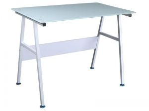 B-131 Desk SIGNAL. Simple, functional work desk. The structure is metallic in aluminum color, the plate is made of tempered white glass. Suitable for small rooms. Polish Signal Modern Furniture Store in London, United Kingdom #furniture #polish #signal #desks