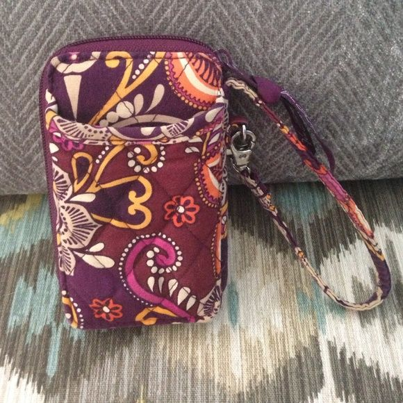 Price Drop Vera Bradley Wristlet Vera Bradley Wristlet ~ GENTLY USED. Fits iphone4/4s/5/5s and any other phone similar. This wristlet was my little sister's, she doesn't use it anymore so she gave it to me to sell to get some money for it. There's some worn and some color fading but overall still in decent condition. Vera Bradley Bags Clutches & Wristlets