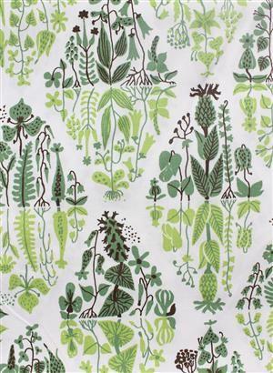 Lot: 3039845 Fabric, Stig Lindberg, Mirror Flower, Green, 6 m