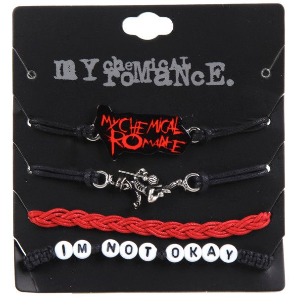 Hot Topic My Chemical Romance Cord Bracelet Set ($8.40) ❤ liked on Polyvore featuring jewelry, bracelets, multi, cord bracelet and rope bracelet