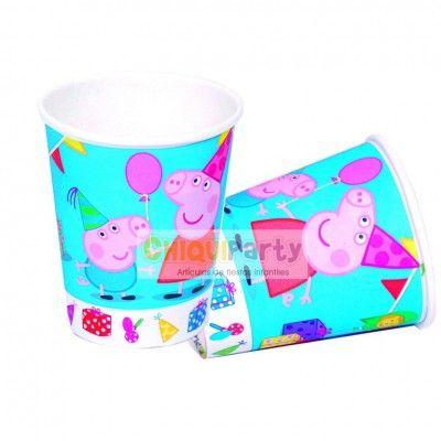 Vasos cumpleaños Peppa Pig, son de cartón desechable y vienen en paquetes de 8 unidades. http://www.articulos-fiestas-infantiles.es/476-fiesta-de-cumpleanos-de-peppa-pig