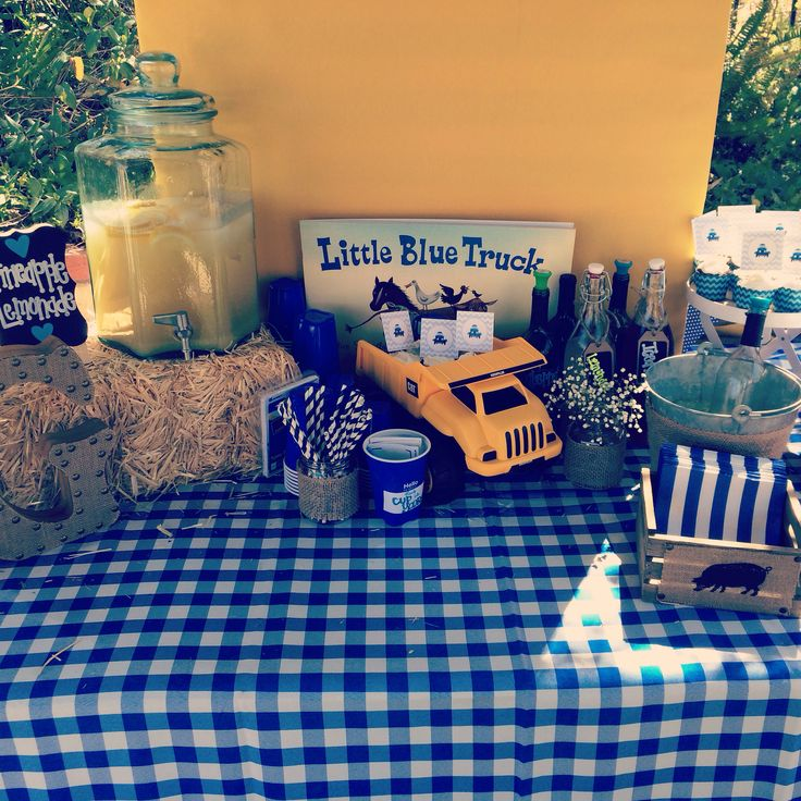 Gage's Little Blue Truck Birthday Party Beverage Table!