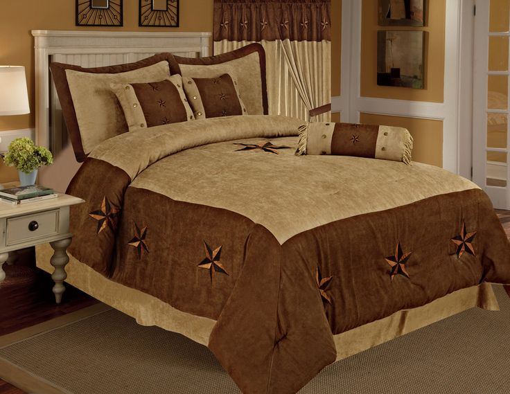 Taupe Brown Texas Star Western Star Luxury Comforter - 7 Pieces Set