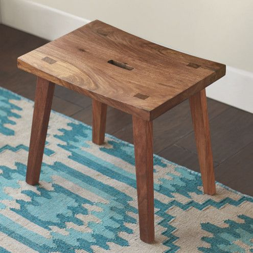 "Sheesham Wood Stool | VivaTerra 20""L x 13.75""W x 18.5""H"