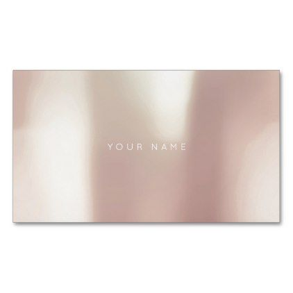 Pink Rose Gold Powder Metallic Pearly Minimal Magnetic Business Card - rose gold style stylish diy idea custom
