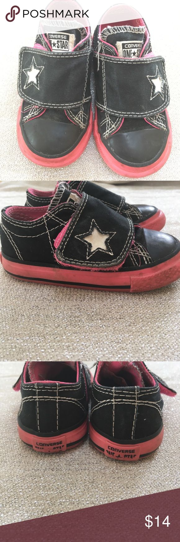 Converse one star toddler girl size 6- euc! Converse one star toddler girl size 6- euc!  Black and pink with a single Velcro strap make it easy on and off for your growing toddler girl! Converse Shoes Sneakers