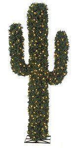 6' PVC Pine Cactus - 2,528 Green Tips - 300 LED Lights - Metal Base