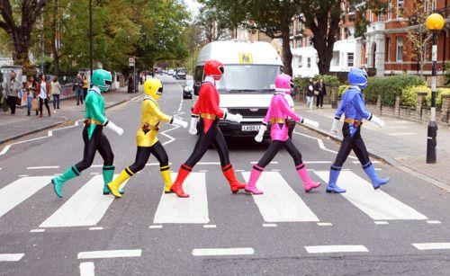 Power Rangers crossing Abbey Road