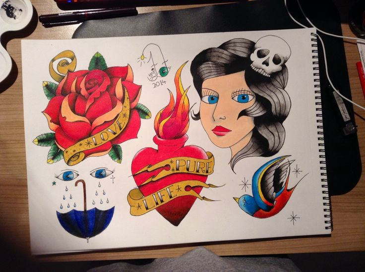 #tattoo #flash #art #firstattemptwithpaintonpaper #lotstolearn