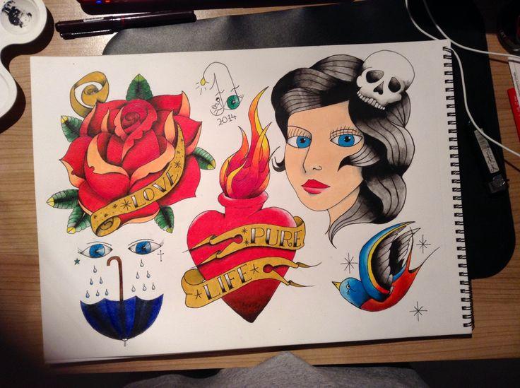 #tattoo #flash #art #firstattemptwithpaintonpaper #lotstolearn