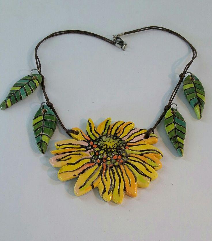 Ceramic Sunflower and Leaves Neckpiece