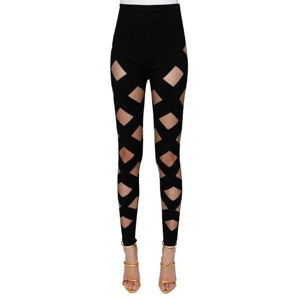 Balmain 'Nude' Details Leggings ($1,460) ❤ liked on Polyvore featuring pants, leggings, black, legging pants, balmain and balmain pants