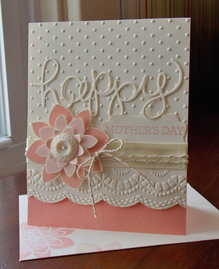 """Stampin"""" Up! ... hand crafted Moter's Day card from Laura's Works of Heart: CRAZY ABOUT YOU CARD #3: ...white and pinks .. layered flower and embossing folder textures ... delightful ..."""