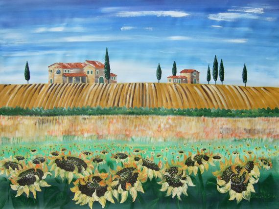 "Large painting of #Tuscany 48""x64"" Sunflowers art by KsaveraART #largepainting #painting #art #largepaintings #canvas #sunflower #sunflowers"