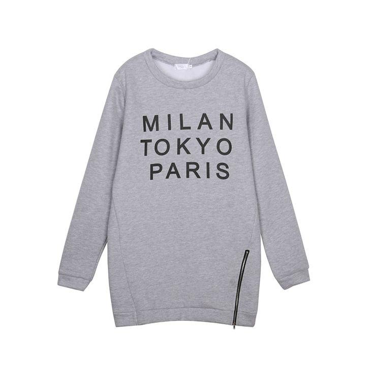 """Mit diesem stylishen Oversize-Sweater erobern Sie jede Mode-Metropole im Sturm! Das lässige Design punktet neben dem coolen Reißverschluss am Saum auch mit einem trendigen """"Milan Tokyo Paris´´-Print auf der Front. Bequeme Bündchen an Ärmeln, Ausschnitt und Saum sorgen zudem für besten Tragekomfort und einen optimalen Sitz. #fashion #sale #mode #günstig #trend #look #style #outfit"""