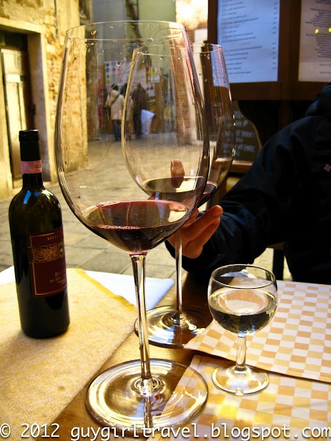 Hotel Canaletto - Venice  Massive Wine Glasses  via GuyGirlTravel