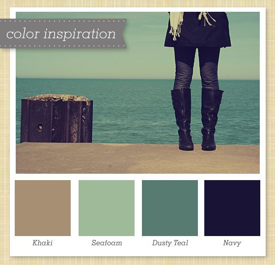 Khaki, Sea Foam, Dusty Teal and Navy Color Palette 4 by Sarah Hearts
