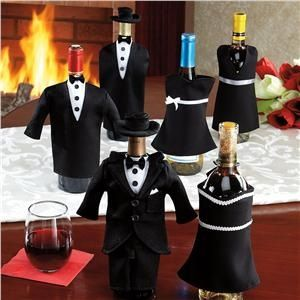Tuxedo and Cocktail Dress Wine Bottle Covers