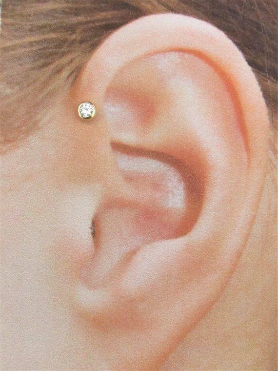 16G 6mm Flat Top Moon Cartilage Tragus Bar Ear Ring Piercing Stud Body Jewellery