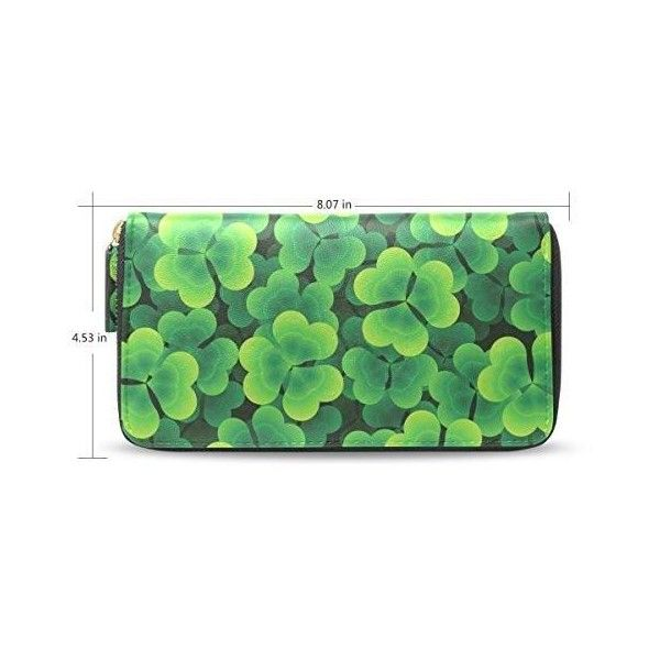 CCBHGY Women's Green Clover Leaves Clutch Leather Long Wallet Purse... ($46) ❤ liked on Polyvore featuring bags, wallets, 100 leather wallet, green leather bag, zip wallet, long zipper wallet and long zip wallet
