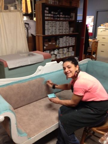 Painting fabric with Chalk Paint™decorative paint by Annie Sloan.