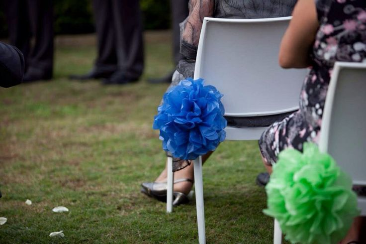 Blue and green themed wedding by Mei & May www.meiandmay.com.au Tissue paper pom poms / wedding ceremony decor / chair decor / wedding aisle