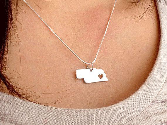 Nebraska Necklace Sterling Silver Necklace by PRECIOUSWINGSCOM
