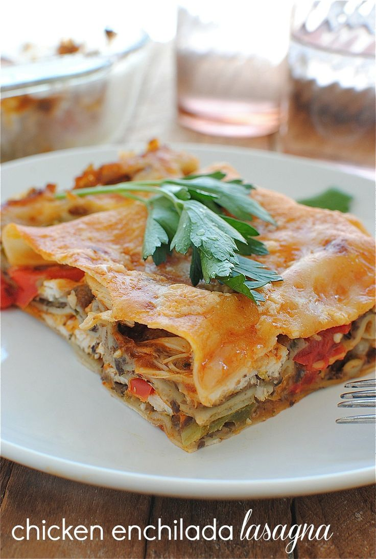 Chicken Enchilada Lasagna - This sounds really tasty and filling for Fall and Winter temperatures!