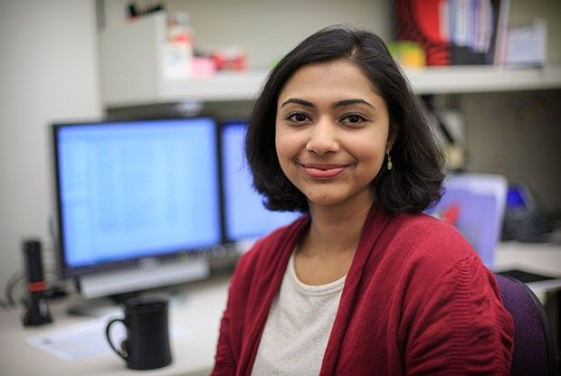 A doctoral student in psychology, Vasundhara Sridharan is studying tobacco addiction. Her research could contribute to creating culturally appropriate smoking cessation programs.      Photo by Robert Hood / Fred Hutch News Service