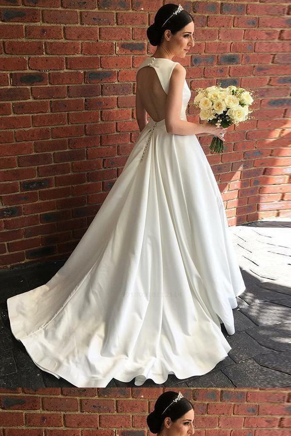 Discount Dazzling Ivory Wedding Dresses, Ball Gown Wedding Dresses, Modest Wedding Dresses, V-Neck Wedding Dresses