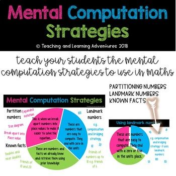 As we are moving towards future focused learning, teach students different mental computation strategies to use in maths instead of Rote Learning. These 5 posters have the explanation/definition of strategy, pie chart diagram to demonstrate the different areas of mental computation and examples of the different strategies. 3 Mental Computation Strategies are: -Landmark numbers -Partition numbers -Known facts.