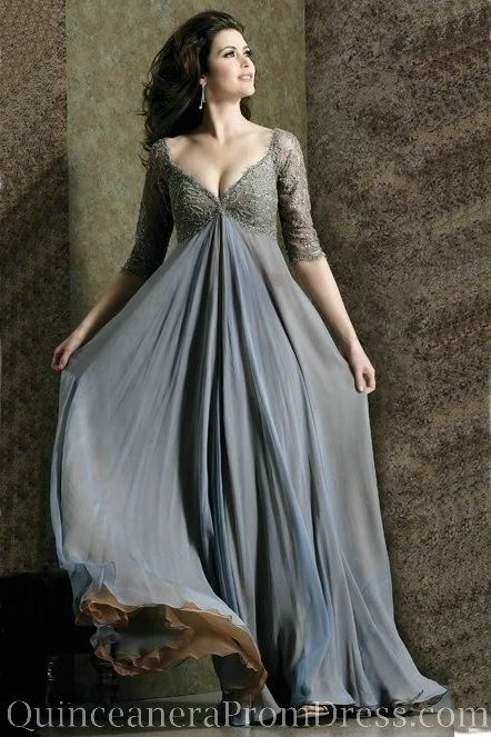 Chiffon Lace Empire Evening Dress Plus Size Dress For Wedding Guest With Sleeves