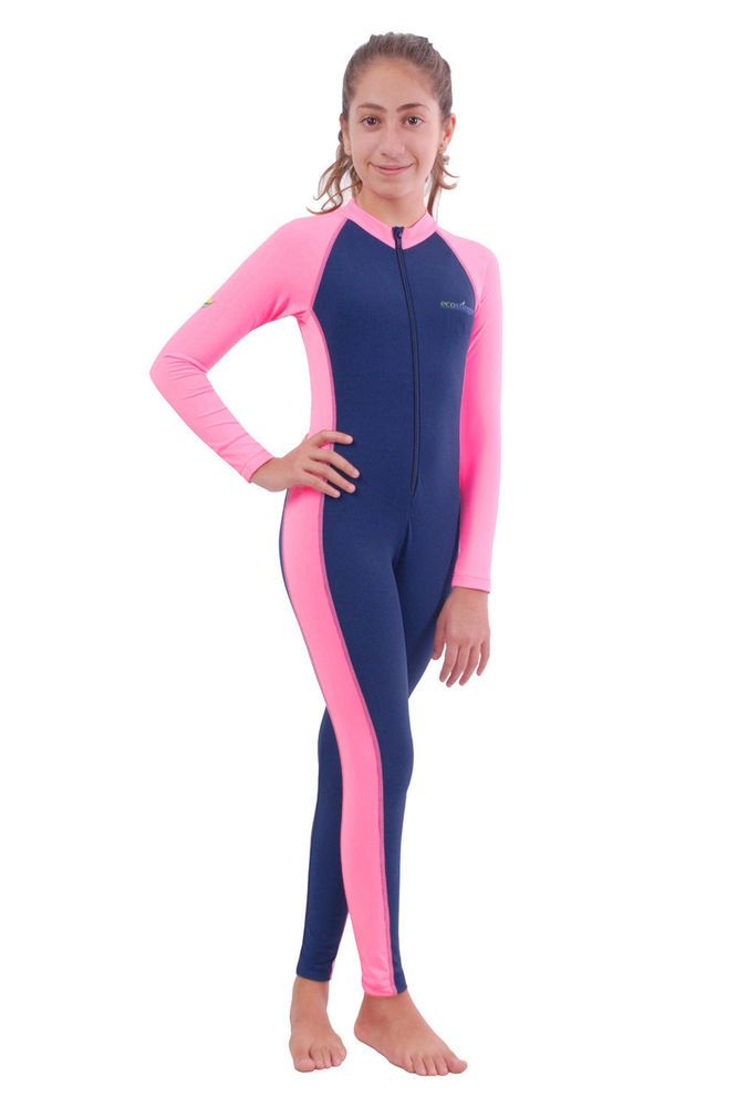GIRLS JUNIOR UV PROTECTIVE SWIMSUIT FULL BODY COVER UP SUIT NAVY PINK #ecostinger #Swimsuit
