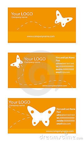 Collection of 3 horizontal business cards templates with butterfly elements