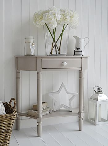 Half Moon Console Table Black Oxford Grey Shelf Drawer White Cottage Living  Room Furniture Bay Shore