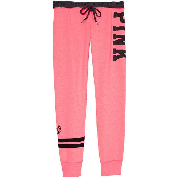 PINK Gym Pant ($55) ❤ liked on Polyvore featuring activewear, activewear pants, sweat pants, gym pants, sport sweatpants, logo sportswear and lightweight sweat pants
