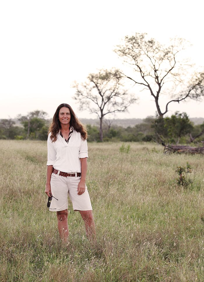 "Londolozi's Head Ranger, Kate Imrie, has been interpreting the tales of the bush for 10 years. Her answer when I asked her if she could live in the city again: ""no"". And looking at this picture of Kate at home in the bush, I can see why. Photograph by Ryan James"