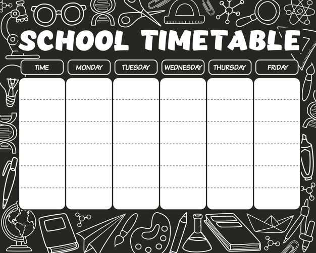 Timetable Black And White School Timetable Timetable Template Study Timetable Template