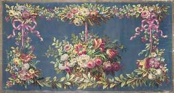 An Aubusson cartoon for a wall hanging of tulips, chrysanthemums and apple blossom in a wicker basket surrounded by floral sprays tied up with ribbons
