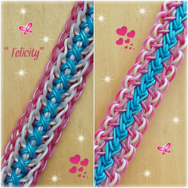 "This design uses a four bar loom with adjustable peg positions.  *Zuzu* New ""Felicity"" Rainbow Loom Bracelet/How To Tutorial"
