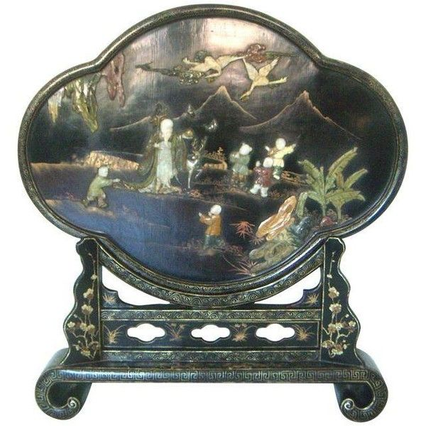 Late 19th C. Oriental Black Lacquer Fire Screen ($1,999) ❤ liked on Polyvore featuring home, home decor, fireplace accessories, room dividers, dragon home decor, black home accessories, oriental home decor, asian inspired home decor and black fireplace screen