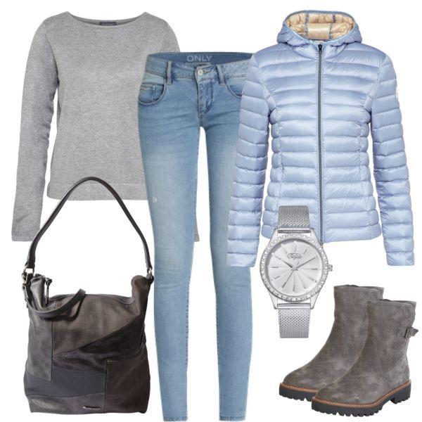 Dieses Outfit eignet sich perfekt für den Alltag. Der Fokus dieses Looks liegt auf der hellblauen Daunenjacke. Passend dazu gibt es hier einen grauen Pullover von Broadway, eine hellblaue Only Jeans, eine graue Handtasche von Tamaris und graue Boots von Pier One. Die silberne Uhr von Buffalo gibt dem Lok ein super Finish.