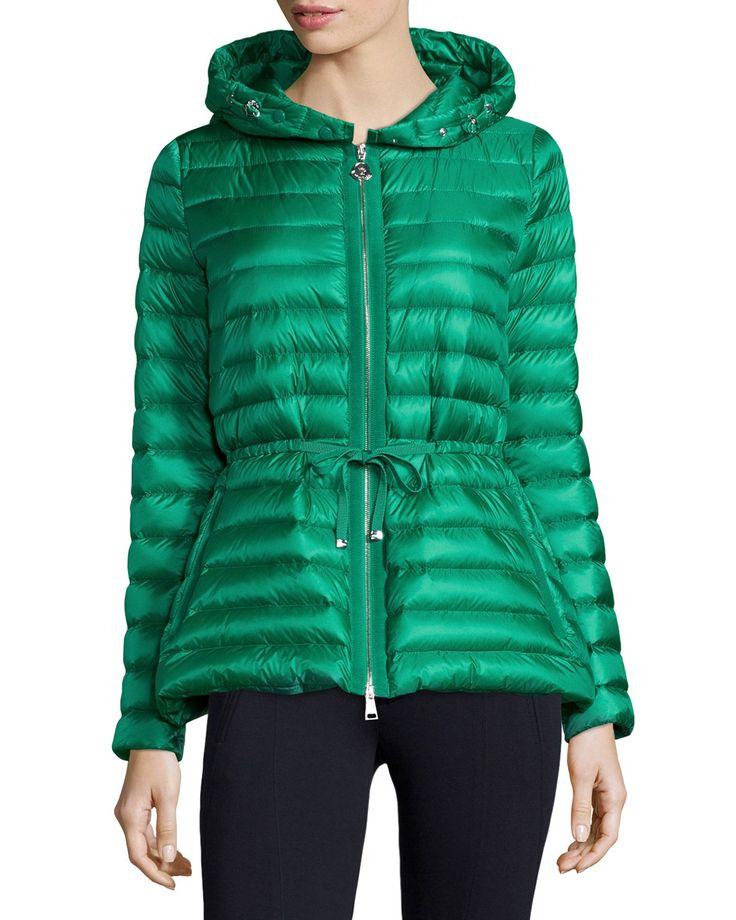 Raie Hooded Puffer Jacket, Size: 4, Beige - Moncler
