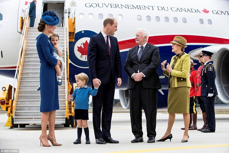 Kate's matching blue Locke and Co hat (pictured) was decorated with maple leaves as a tribute to her Canadian hosts. Prince William was photographed speaking to Governor General David Johnston and his wife