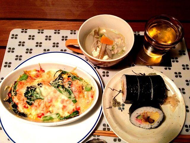 太巻き、豚と野菜の生姜スープ - 36件のもぐもぐ - 餅の明太子えのきグラタン by necousaco