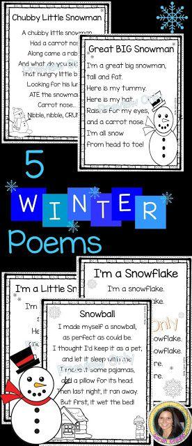 5 Winter Poems for Kids | Snowball | Snowflake | Snowman | Printable poems