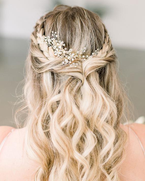 Wedding hair comb,Bridal hair accessories,Wedding headpiece,Bridal comb Crystal,Boho hair vine,Wedding hair barrette,Bridal hair clip,Prom